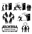 support group meeting stick figure pictogram vector image vector image
