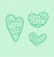 valentines day flat hearts green vector image