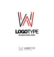w logo digital logo template black and red logo vector image