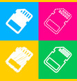 memory card sign four styles of icon on four vector image