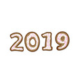2019 in shape of gingerbreads vector image