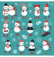 A cute snowmen collection vector image vector image