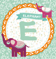 ABC animals E is elephant Childrens english vector image vector image