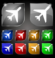 airplane icon sign Set of ten colorful buttons vector image vector image