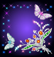 background frame with butterflies and ornaments vector image vector image