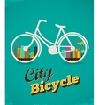 Bicycle in the city vintage style poster vector image vector image