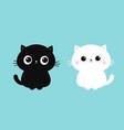 black white cat kitten kitty icon set cute kawaii vector image vector image