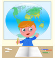 boy with hand up at school in classroom vector image vector image