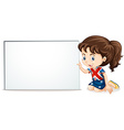 British girl and whiteboard vector image vector image