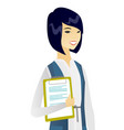 business woman holding clipboard with documents vector image vector image