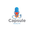 capsule health care with stethoscope logo designs vector image
