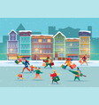 christmas city street people with presents vector image