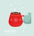 cocoa party invitation template with decorative vector image
