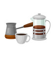 coffee and tea poured in cup and teapot isolated vector image vector image