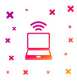 color laptop and free wi-fi wireless connection vector image vector image