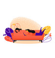 concept of couchsurfing character woman lying on vector image vector image