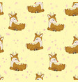 cute deer heads seamless pattern christmas vector image vector image