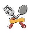 cutlery and ribbon design vector image vector image