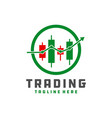 digital trading chart logo vector image vector image