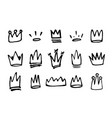 doodles set of hand drawn crowns vector image vector image
