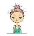 doubting isolated tired girl skepticism emotion vector image vector image