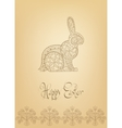 Easter folk ornament rabbit hand-drawn typography vector image vector image