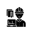 engineer and computer black icon sign on vector image vector image