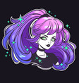 face cute girl with colorful hair vector image vector image