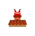 flat santa stuck in the chimney on the roof vector image vector image