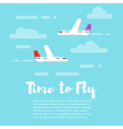 flat style of planes in the sky with word Time to vector image vector image