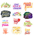 friend lettering friendship card typography vector image vector image