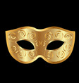 gold carnival mask on black background vector image