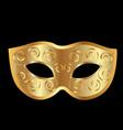 gold carnival mask on black background vector image