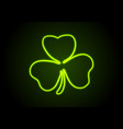 green neon shamrock clover abstract background vector image