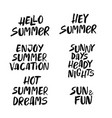 hand drawn set summer lettering vector image vector image