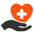 hand offer cardiology flat icon vector image vector image