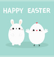 happy easter bunny head face chicken bird set vector image vector image