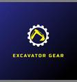 heavy mining excavator backhoe bulldozer logo vector image