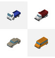 isometric transport set of auto freight lorry vector image