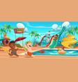 kids in aquapark amusement aqua park attractions vector image vector image