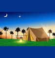 landscape camping tent at meadow vector image vector image