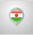 map navigation pointer with niger flag design vector image vector image