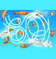 maze or labyrinth game template with kites in sky vector image