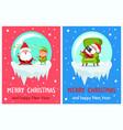 Merry christmas happy new year santa elf banners vector image