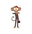 monkey businessman looking at his wrist watch vector image