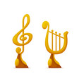 music award in shape note and harp trophy cups vector image vector image