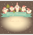 New Year funny card with Santa Clauses and ribbon vector image