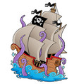 old pirate ship with tentacles vector image