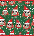 owl santa on green background seamless pattern vector image