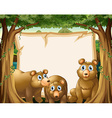 Paper template with bears in background vector image vector image